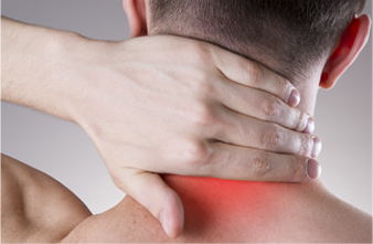 hand on inflamed neck